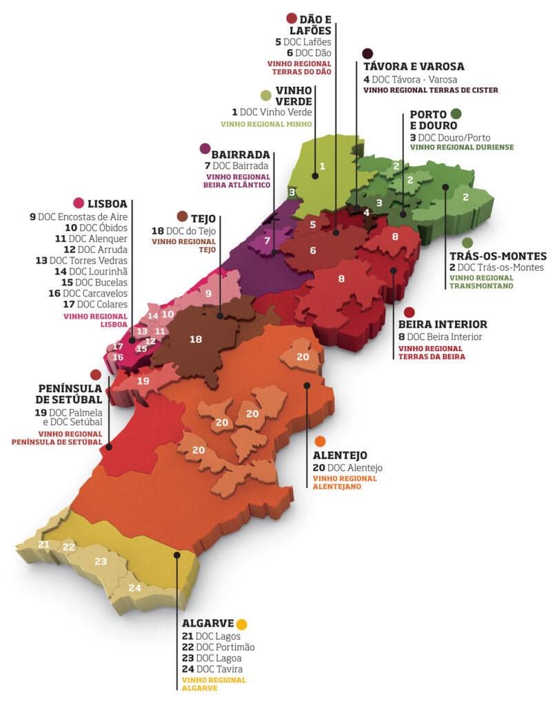 Kaart Portugese wijngebieden